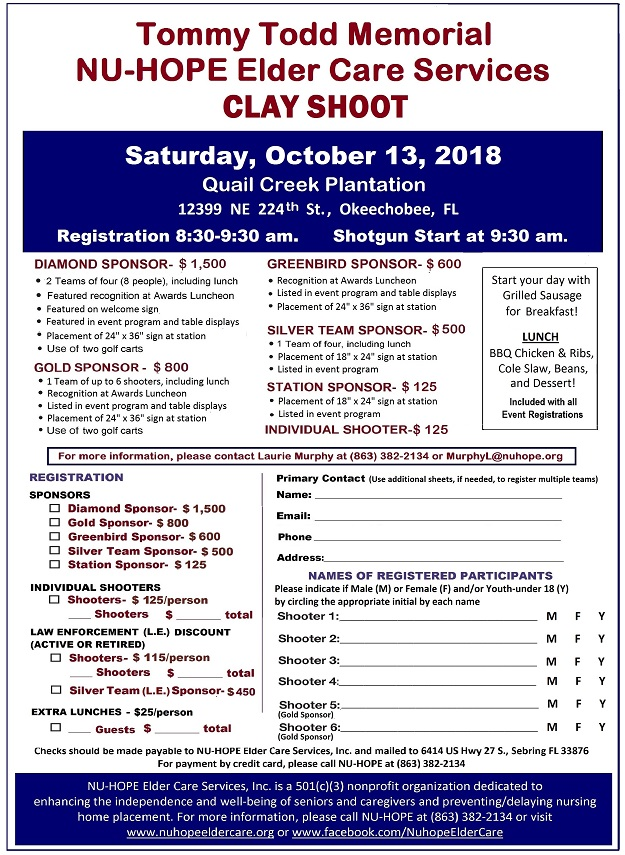 2018 NU-HOPE Clay Shoot registration flyer rz 625