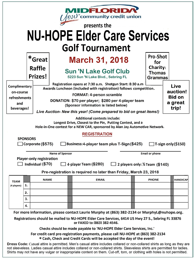 Rz 625 2018 NU-HOPE Golf Tournament registration flyer