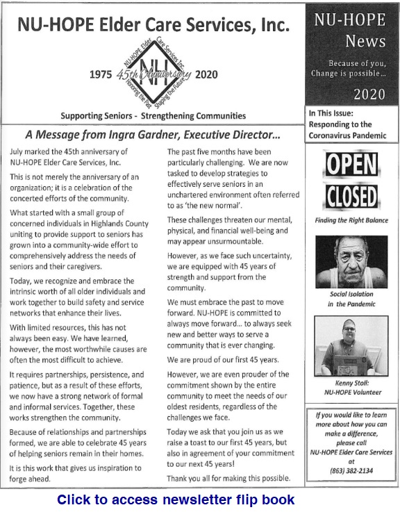 Newsletter printed 2020 September